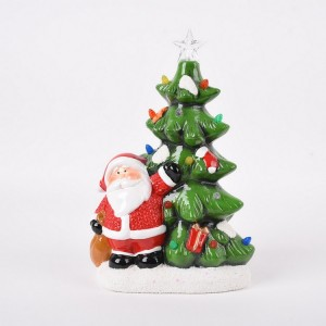 Ceramic Christmas Tree with Santa & Mrs Claus Musical
