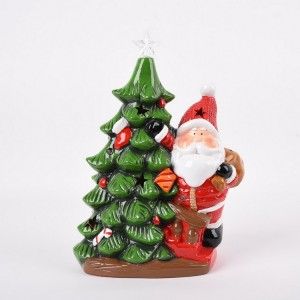 Ceramic Hand Painted Snowman Christmas Tree Lighted