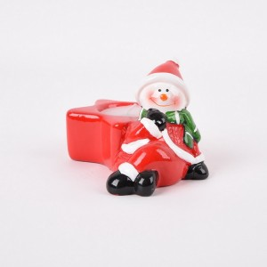 Ceramic Christmas Holiday Snowman Santa & Praying Child