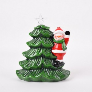 High quality green ceramic LED christmas tree with santa claus