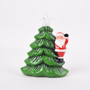 Hot Sale Christmas Ornaments Ceramic Lamp Tree With LED Light Decoration Gift