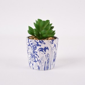 Marble effect Water transfer printing Style ceramic succulent pot