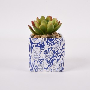 Mini Ceramic Marble Basin Succulent Planter Pots Desktop Artificial Succulent Plants Pots with Base