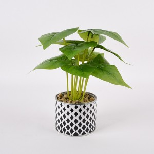 Artificial Calla Lily Potted Plant Fake Bonsai Flower Arrangements with Black Plastic Pot