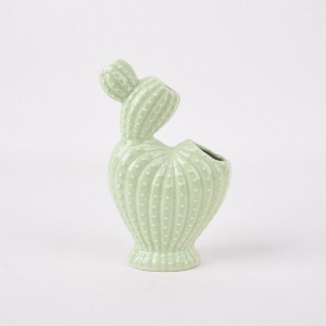 Retro Style Green Cactus Ceramic Bottle Small Flower Vase for Wedding Decoration