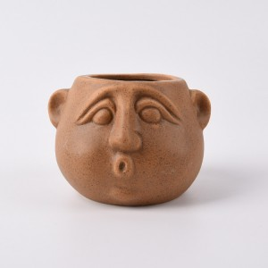 Brown colour Funny Ceramic Face custom flower pots and planter outdoor clay plant pots