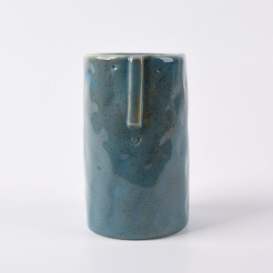 Blue Length Round Colour Funny Ceramic Face custom flower pots and planter outdoor clay plant pots
