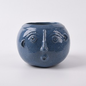 Round colour Funny Ceramic Face custom flower pots and planter outdoor clay plant pots